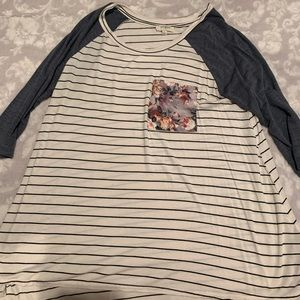 striped shirt with floral pocket